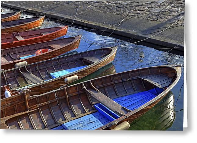 Boats. Water Greeting Cards - Wooden Boats Greeting Card by Joana Kruse