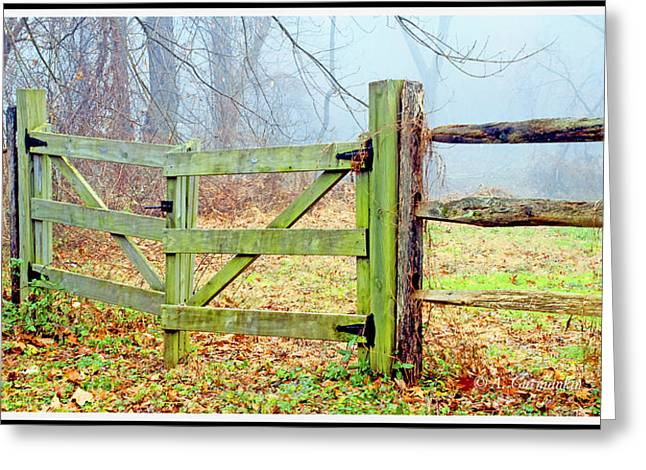 Wooden Fence On A Foggy Morning Greeting Card