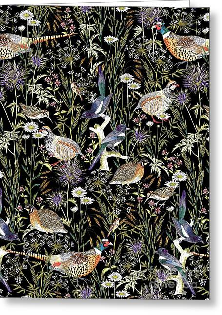 Woodland Edge Birds Greeting Card by Jacqueline Colley