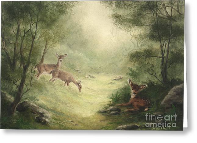 Baby Greeting Cards - Woodland Surprise Greeting Card by Cathy Cleveland