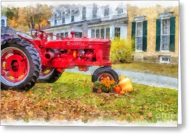 Woodstock Vermont Red Tractor Greeting Card