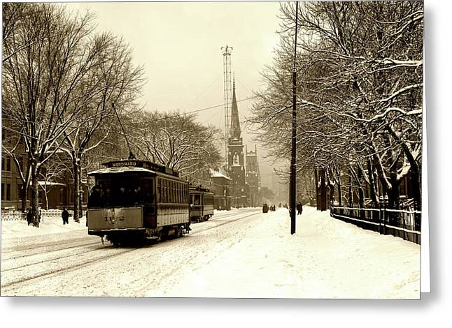 Woodward Avenue In Winter - Detroit C1905 Greeting Card by L O C