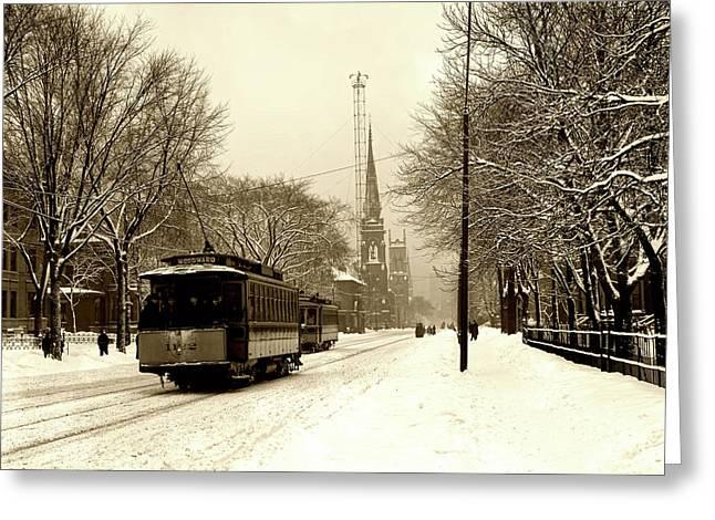 Woodward Avenue In Winter - Detroit C1905 Greeting Card