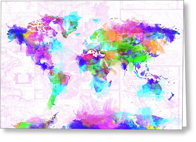 World Map Brush Strokes Greeting Card