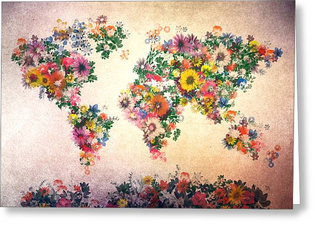 World Map Floral 9 Greeting Card by Bekim Art
