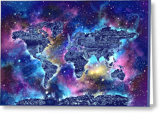 World Map Galaxy 4 Greeting Card