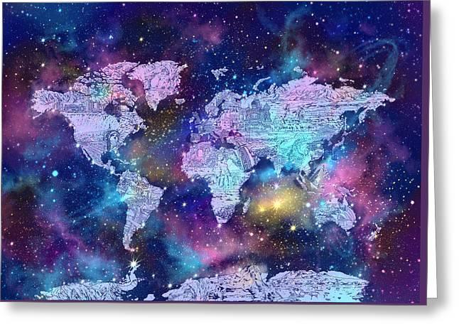World Map Galaxy 9 Greeting Card