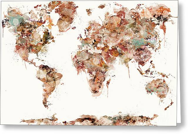 Greeting Card featuring the painting World Map Watercolors by Bri B