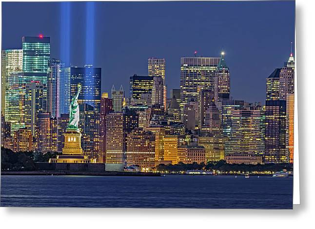 Greeting Card featuring the photograph World Trade Center Wtc Tribute In Light Memorial II by Susan Candelario