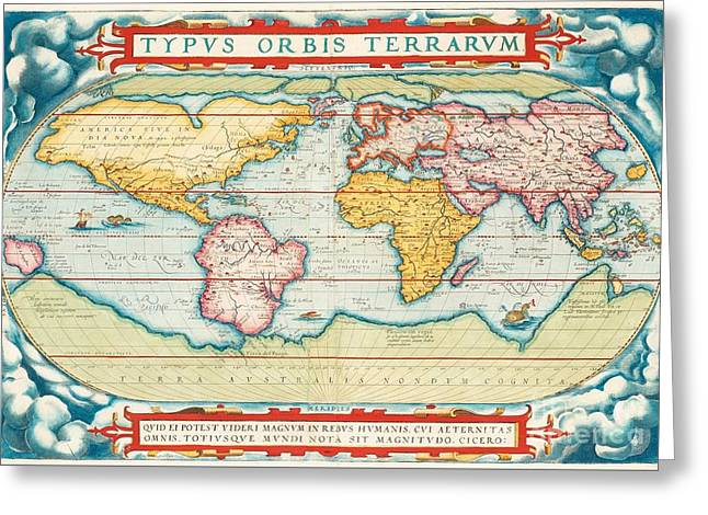 Worldmap America And Portrait Greeting Card by MotionAge Designs