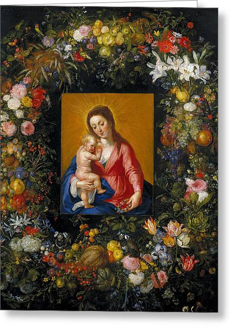 Wreath With Madonna And Child Greeting Card