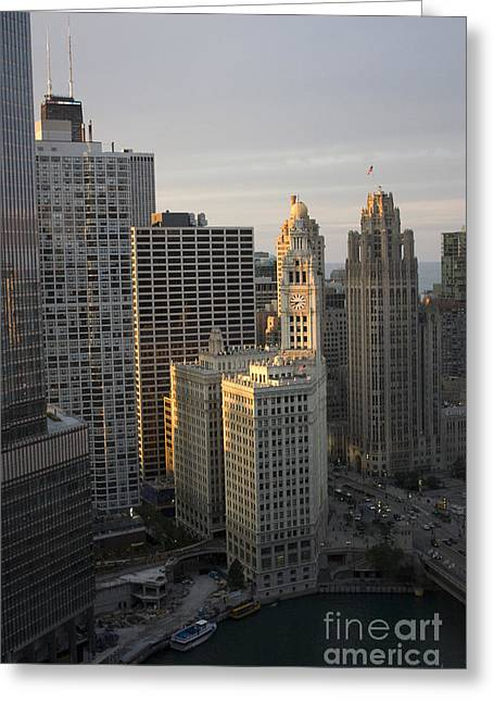 Magnificent Mile Greeting Cards - Wrigley Building at sunset Greeting Card by Christopher Purcell