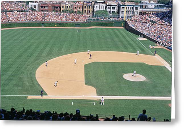 Wrigley Field, Chicago, Cubs V Greeting Card by Panoramic Images