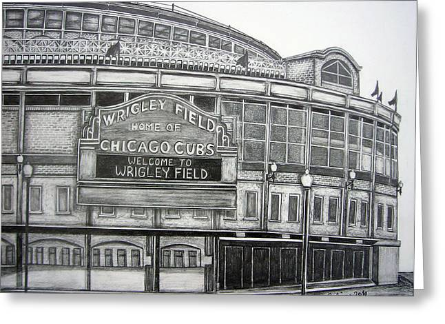 Baseball Fields Drawings Greeting Cards - Wrigley Field Greeting Card by Juliana Dube