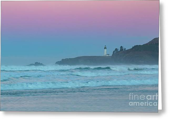 Yaquina Head Lighthouse Greeting Card by Richard Sandford