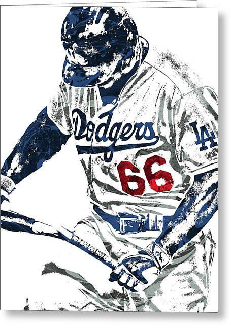 Yasiel Puig Los Angeles Dodgers Pixel Art Greeting Card by Joe Hamilton
