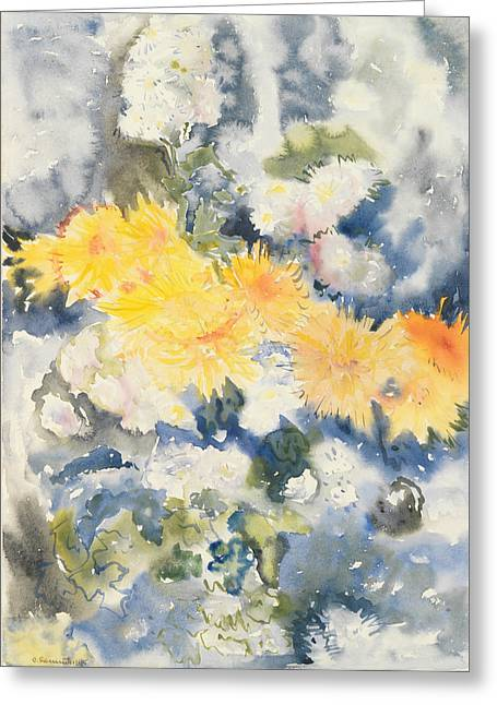 Yellow And Blue Greeting Card by Charles Demuth