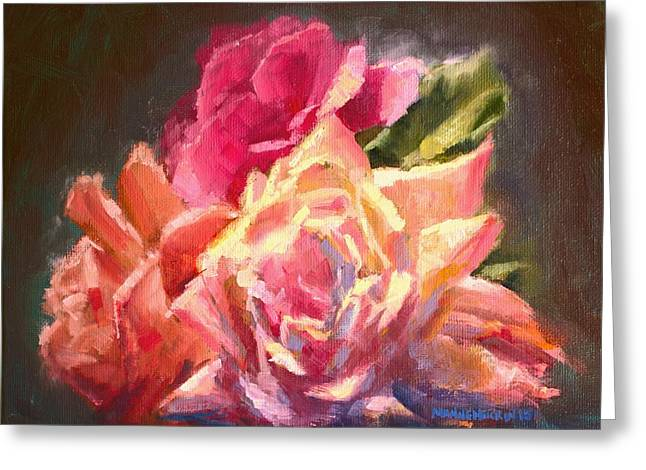 Yellow And Pink Roses Greeting Card