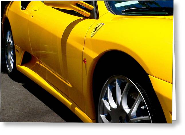 Yellow Ferrari Greeting Card