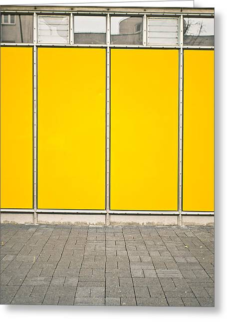 Yellow Panels Greeting Card by Tom Gowanlock