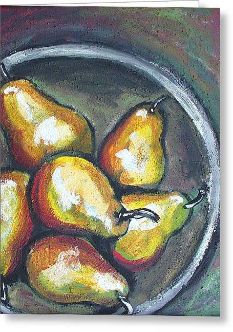Greeting Card featuring the painting Yellow Pears by Sarah Crumpler