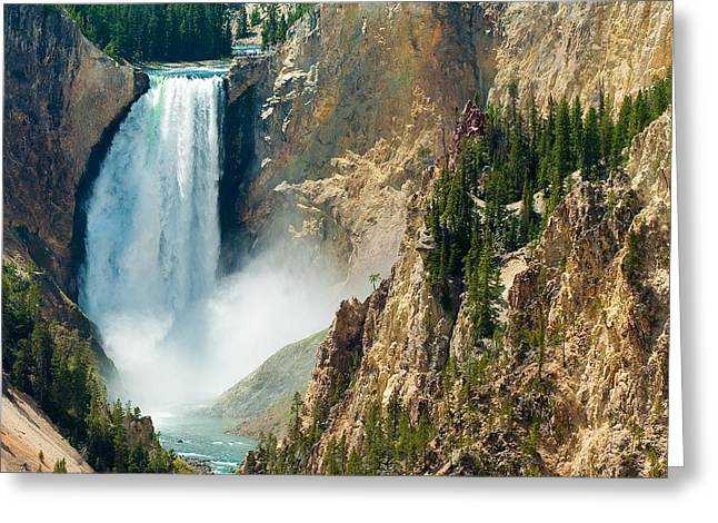 Yellowstone Waterfalls Greeting Card by Sebastian Musial