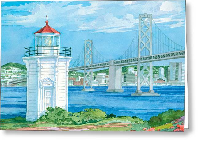 Yerba Buena Lighthouse Greeting Card by Paul Brent