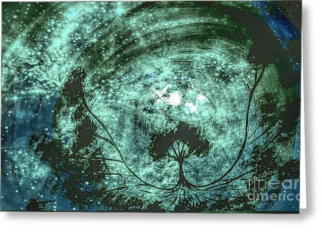 Yggdrasil 019 Between Realities Greeting Card by Matthew Hagan