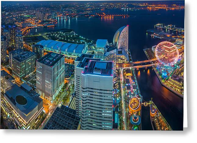 Yokohama, Japan Waterfront Cityscape. Greeting Card