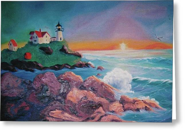 York Beach Paintings Greeting Cards - York Beach Maine Greeting Card by Suzanne  Marie Leclair