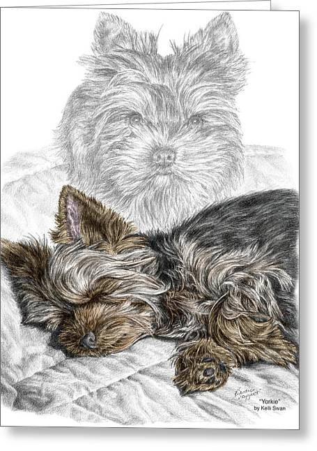 Yorkie - Yorkshire Terrier Dog Print Greeting Card by Kelli Swan