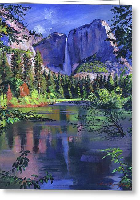 Yosemite Falls Greeting Card by David Lloyd Glover