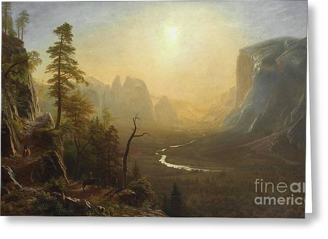 Yosemite Valley, Glacier Point Trail Greeting Card by Albert Bierstadt
