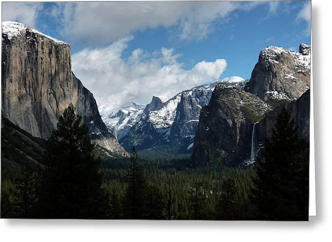 Yosemite Valley View In Winter Greeting Card