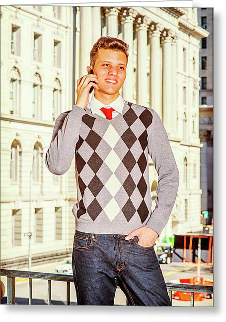 Young American Man Calling Outside In New York Greeting Card