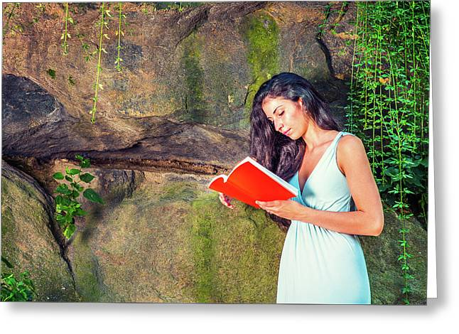 Young American Woman Reading Book At Central Park, New York, In  Greeting Card