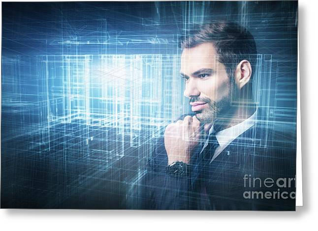Young Businessman Projecting A New Plan. Digital, Virtual Reality Greeting Card