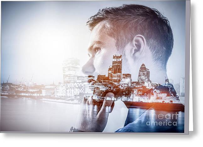 Young Businessman Thinking. Double Exposure City Background. Greeting Card