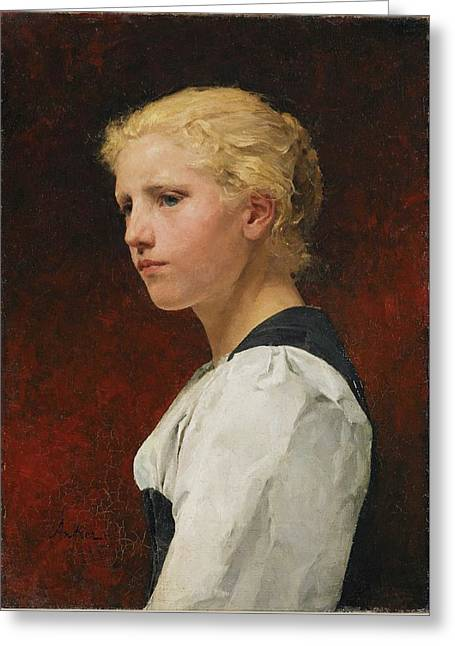 Young Girl Greeting Card by Albert Samuel
