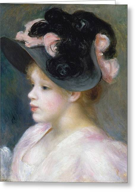 Young Girl In A Pink-and-black Hat Greeting Card