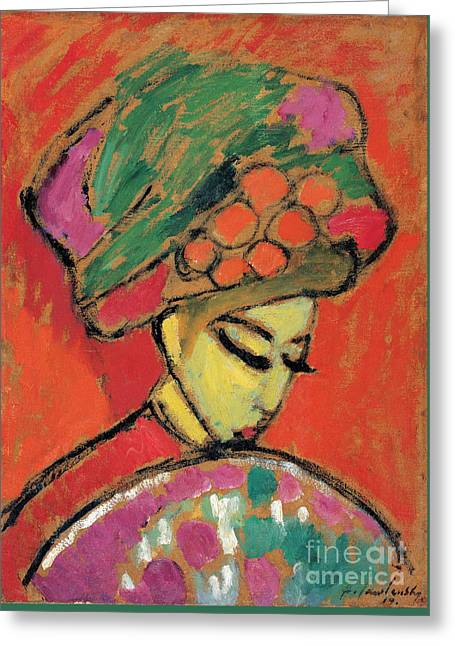 Young Girl With A Flowered Hat Greeting Card by Celestial Images
