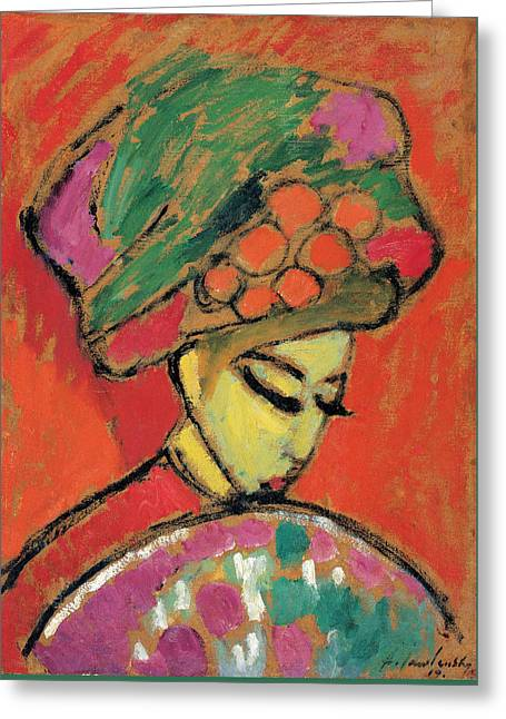 Young Girl With A Flowered Hat Greeting Card by Alexej von Jawlensky