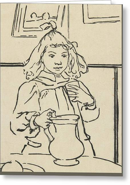 Young Girl With A Pitcher Greeting Card