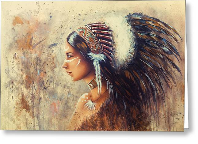 Young Indian Woman Wearing A Big Feather Headdress. A Profile Portrait On Structured Abstract Backgr Greeting Card by Jozef Klopacka