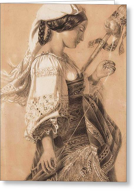 Young Italian With Distaff Greeting Card by Mihaly Kovacs