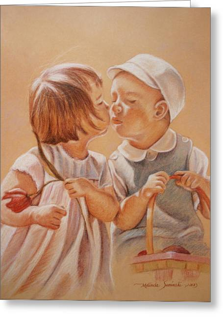 Greeting Card featuring the painting Young Love  by Melinda Saminski