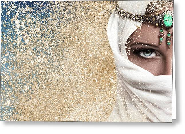 Young Woman Arabic Style Fashion Look Greeting Card