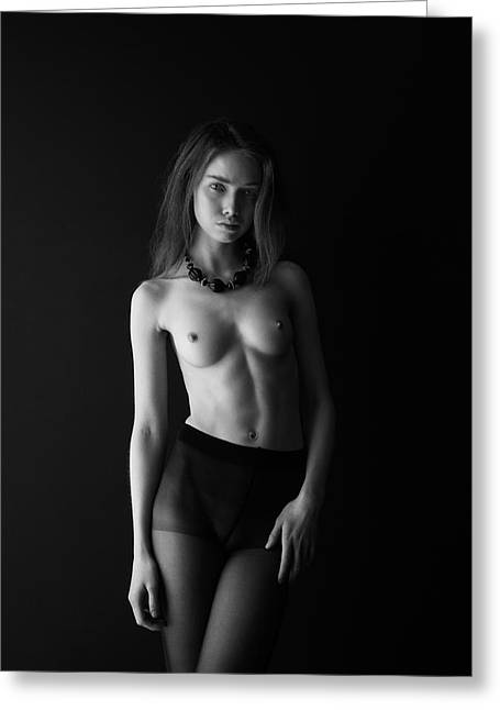 Young Woman In Front Of Black Wall Greeting Card