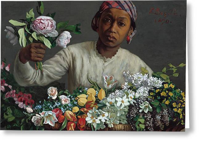 Young Woman With Peonies Greeting Card