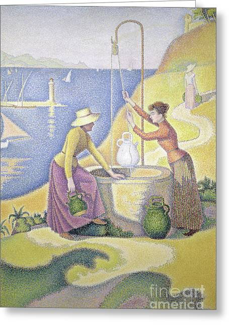 Young Women Of Provence At The Well, 1892 Greeting Card by Paul Signac